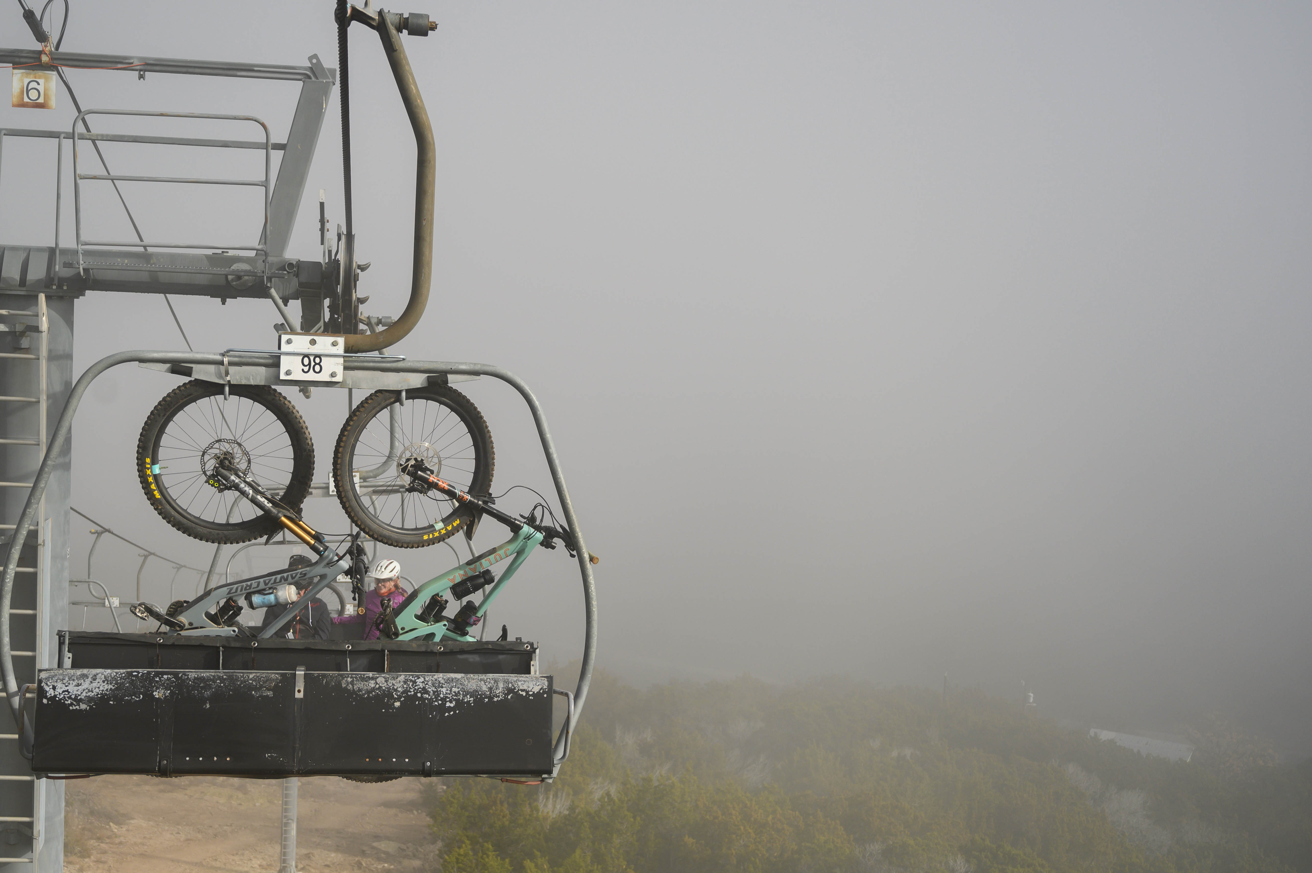 Morning mist and low-hanging clouds are a common occurrence on Hillcountry, unlike mountain bikes hanging from chairlifts.