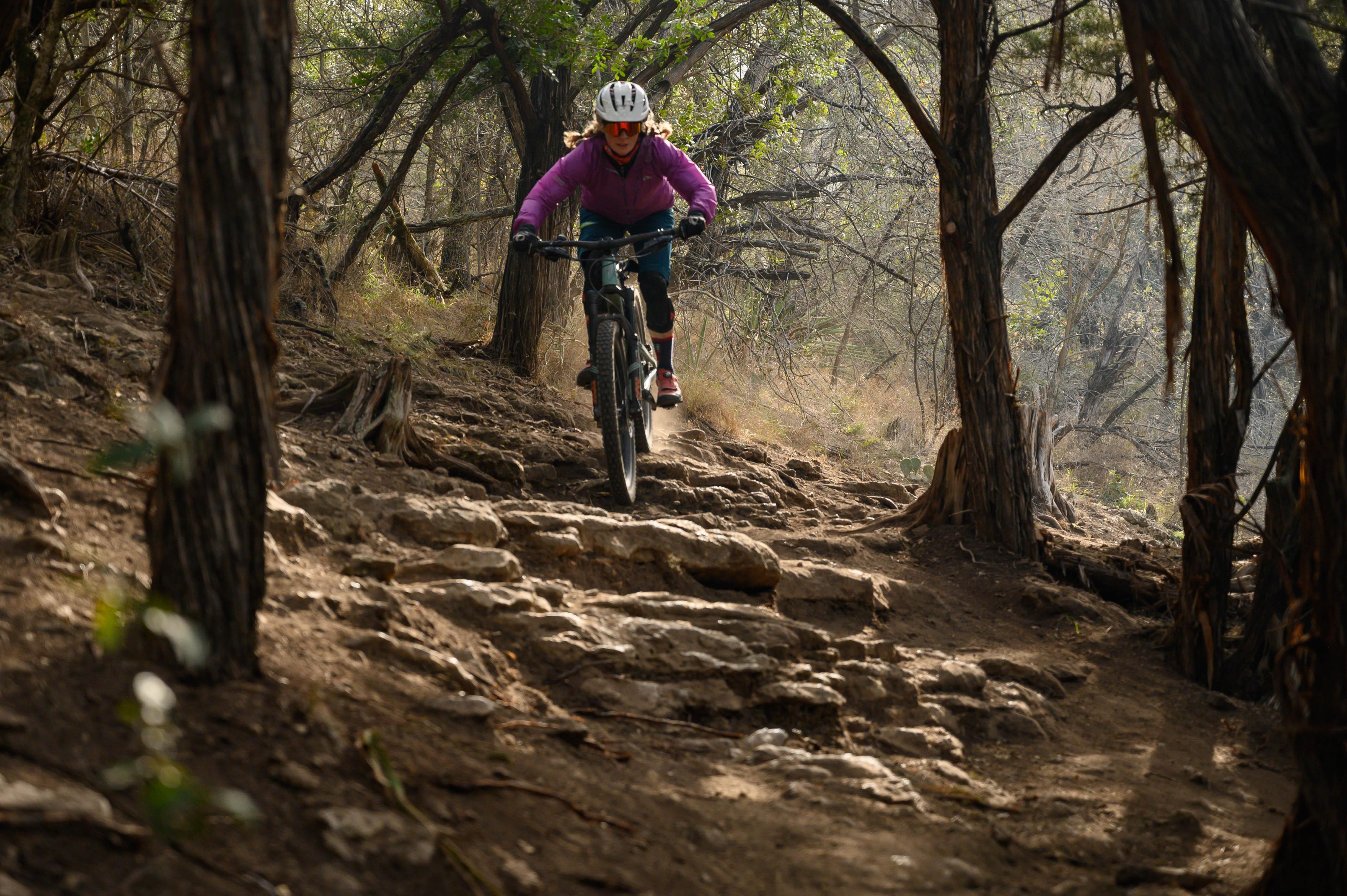 Sticky Icky is appropriately designated a black trail with tricky little off-camber tech sections like this one.