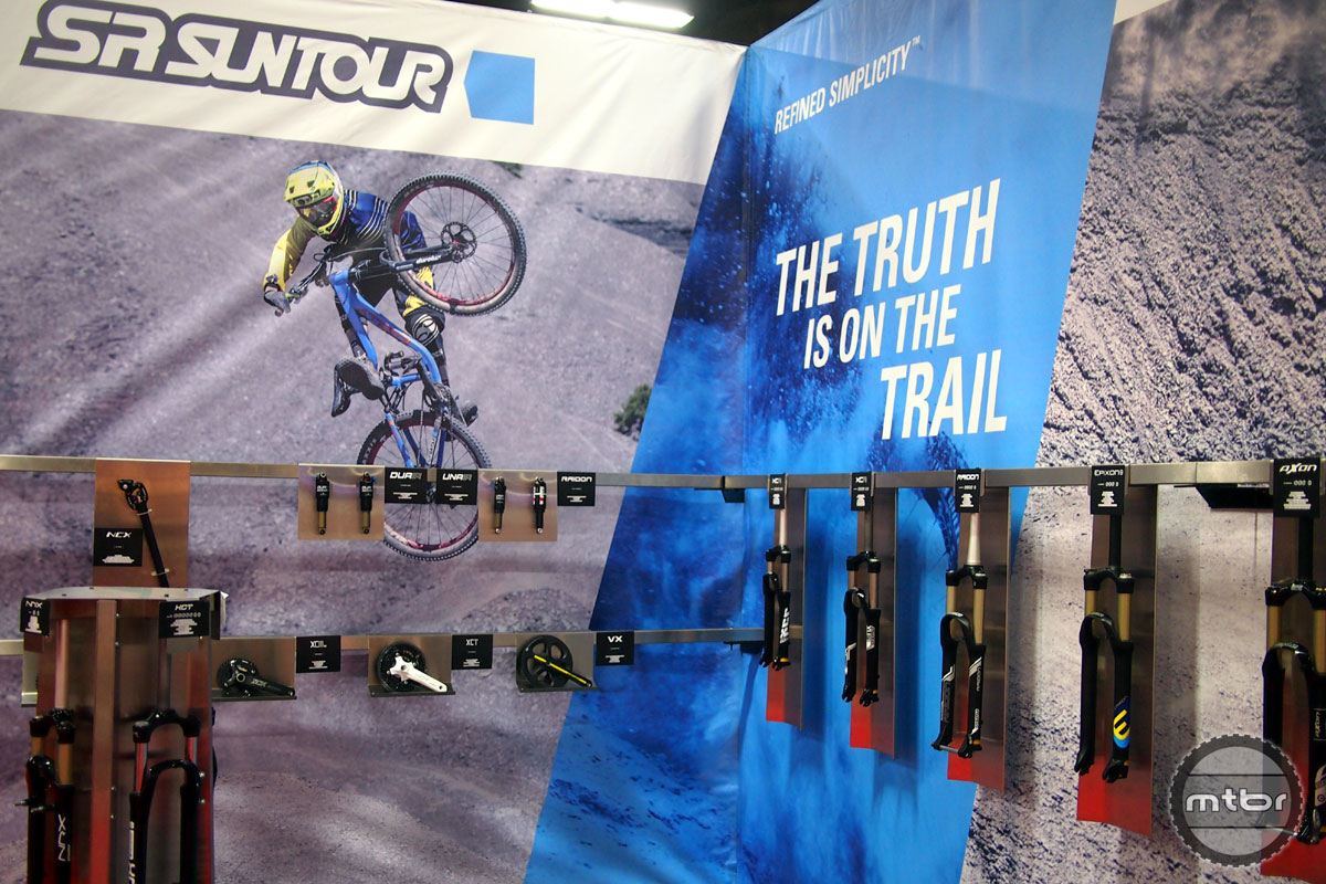 SR Suntour had all of their 2016 lineup of forks, shocks, cranks and more on display at Interbike.
