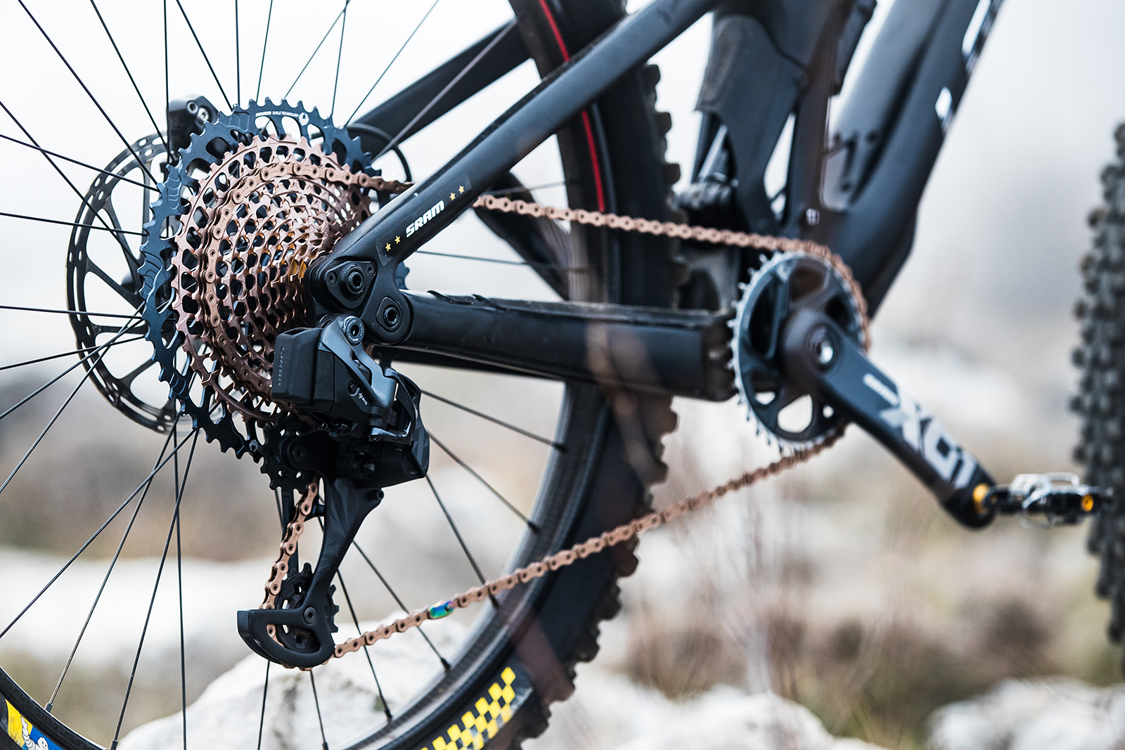 SRAM's electronic Eagle AXS derailleurs are compatible with the new wide-range cassettes.
