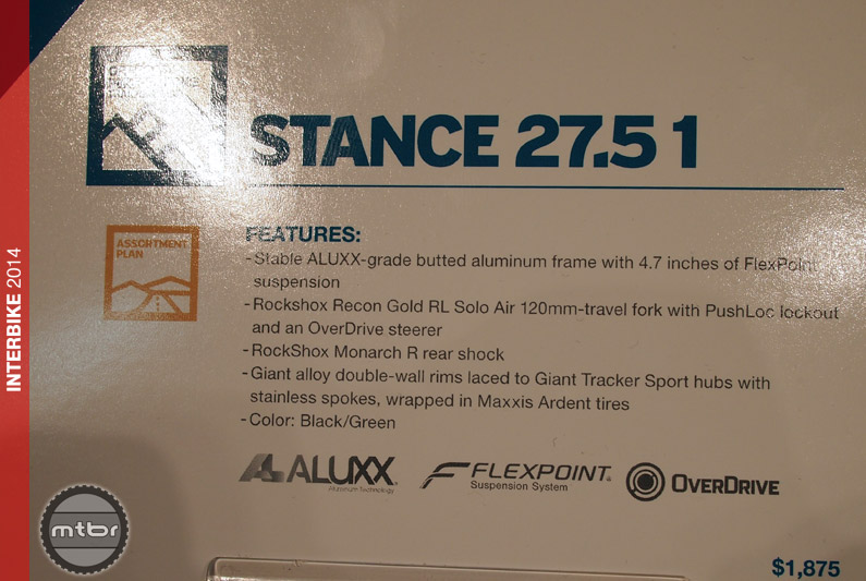 Giant Stance 1 - specs