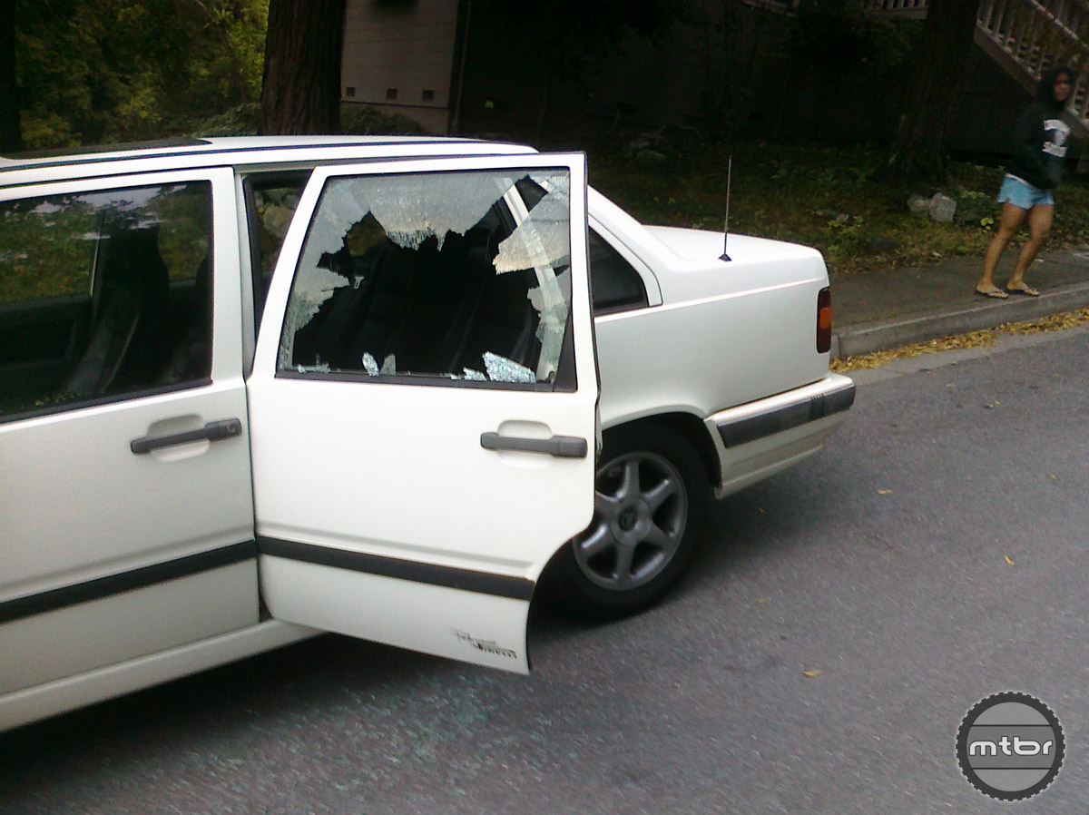 Thieves smashed the window of this Volvo in order to steal the authors bike.