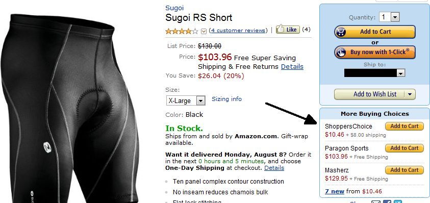 Sugoi RS Spandex Shorts - Small .72; XL .46 (0 MSRP)-sugoirsshortxl.jpg