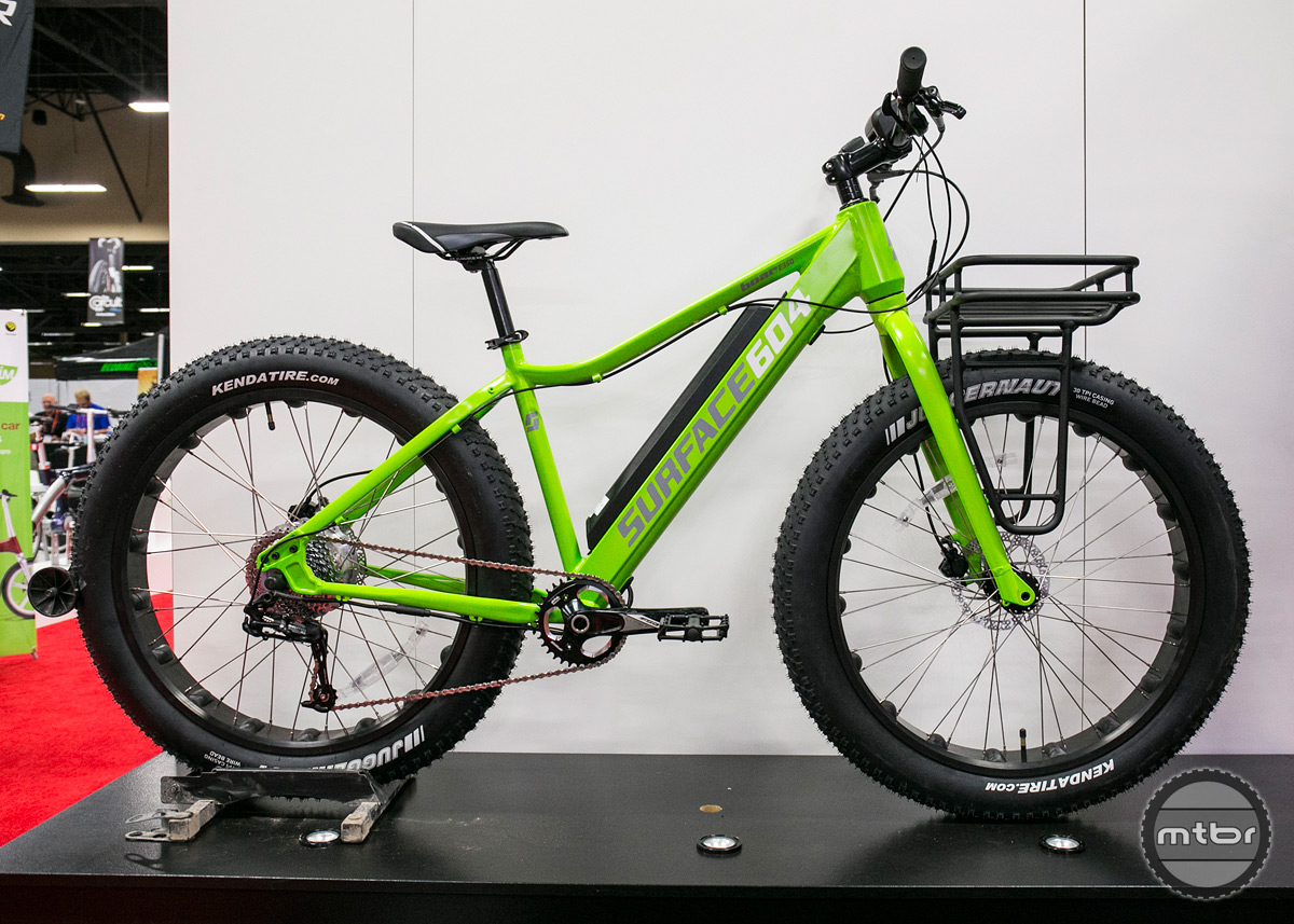 The Surface 604 Boar is an aluminum framed fat bike with a stealthily placed battery and a 350 watt hub motor.