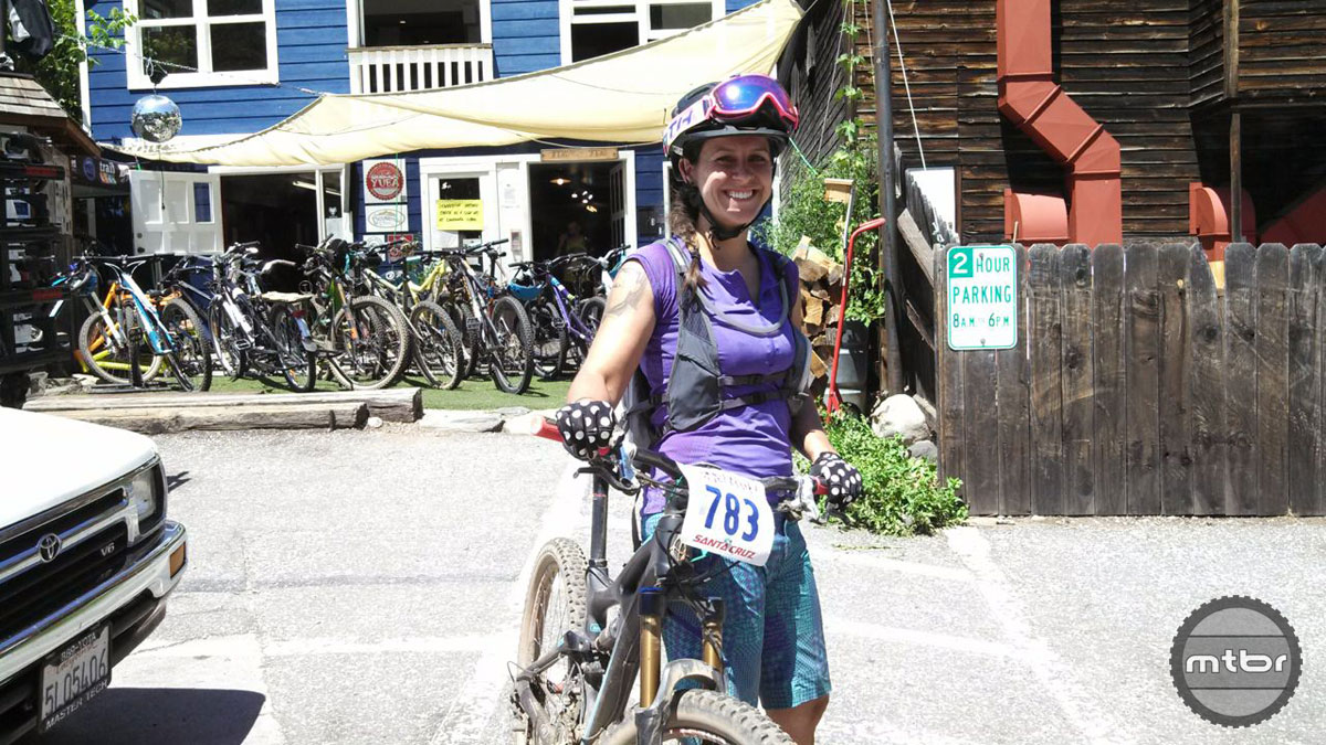 In her first mountain bike race ever, Swan John finished second with 37 stitches in her leg.