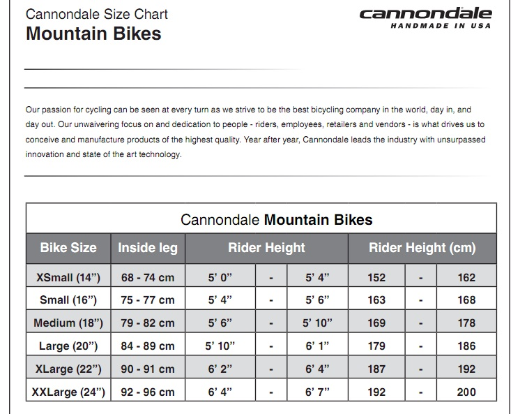cannondale size chart road bike: Size chart for cannondale mountain bikes best mountain 2017