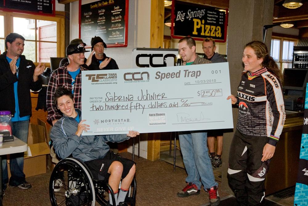 Tara presents Sabrina Johnier with Speed Trap Prize 201 TLC (CraigWSmith)