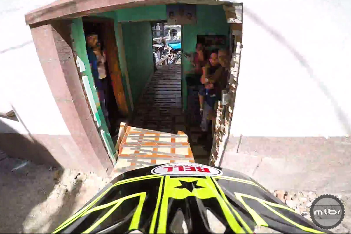 Part of the Taxco course goes down someone's hallway--note the embedded spectators. Photo Jon Buckell