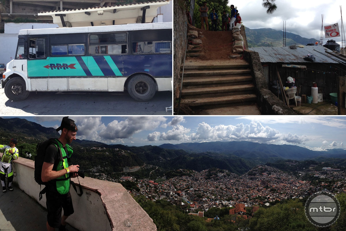 The Taxco course features some serious drop--and a whole fleet of busses and trucks to get racers back to the top. Photos by Jon Buckell.