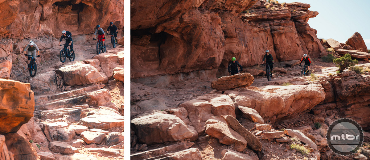 The Levo was comfortable tackling the most technical sections of the Amasa Back trail in Moab, Utah (left). We descended down some steep terrain (right).