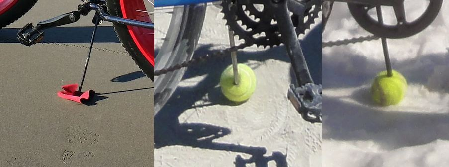 The Dolo in the (semi) wild - Mongoose Dolomite-tenis-ball-kickstand.jpg