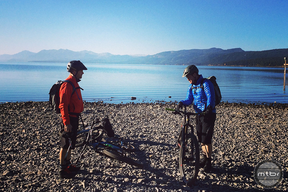 The riders take one last glance at Lake Tahoe before heading off in search of adventure.