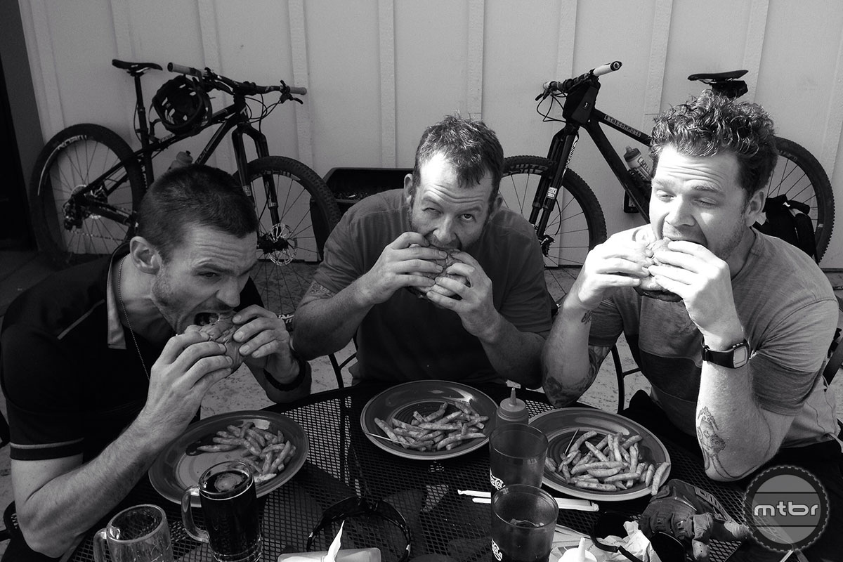 With more than 20,000 feet of climbing in the first three days, TheCommute boys have worked up an appetite. Photo by James Adamson - dropmedia.tv