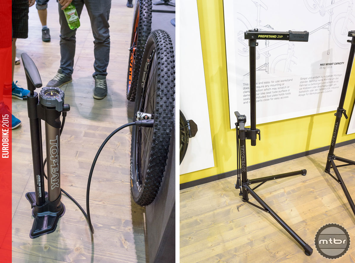 The Joeblow Booster (left) provides easy inflating of tubeless tires without  a compressor. Scratch and clamp free prepping (right) with the Prepstand ZX.