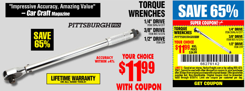 11 99 Torque Wrench At Harbor Freight With Coupon Mtbr Com