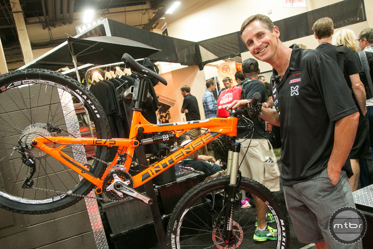 A shot of Brian from Interbike at the Intense booth with the T275 Foundation with X-Fusion fork and shock.