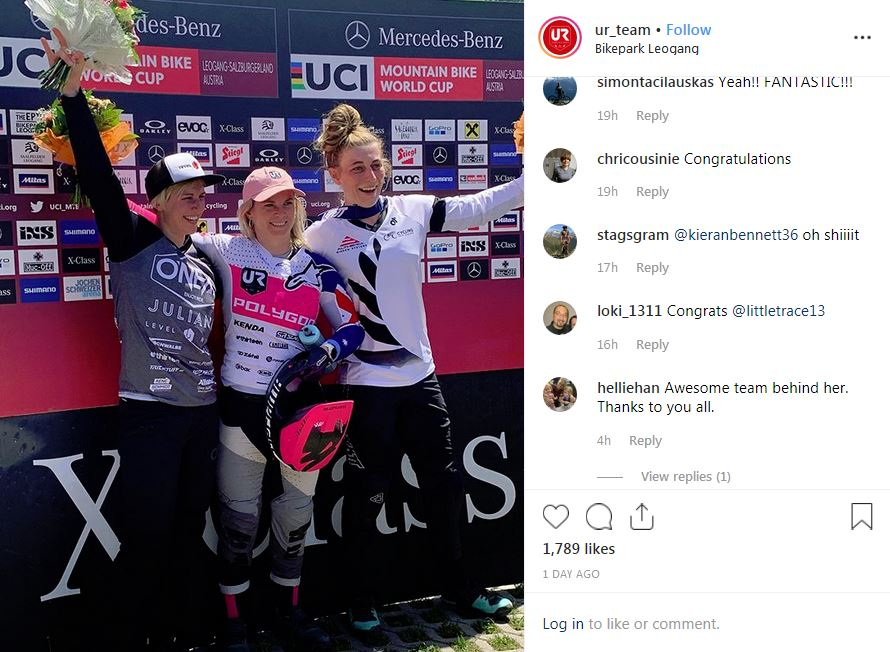 Transgender rider 3rd in women's DH race at Leogang-tracey-wins.jpg