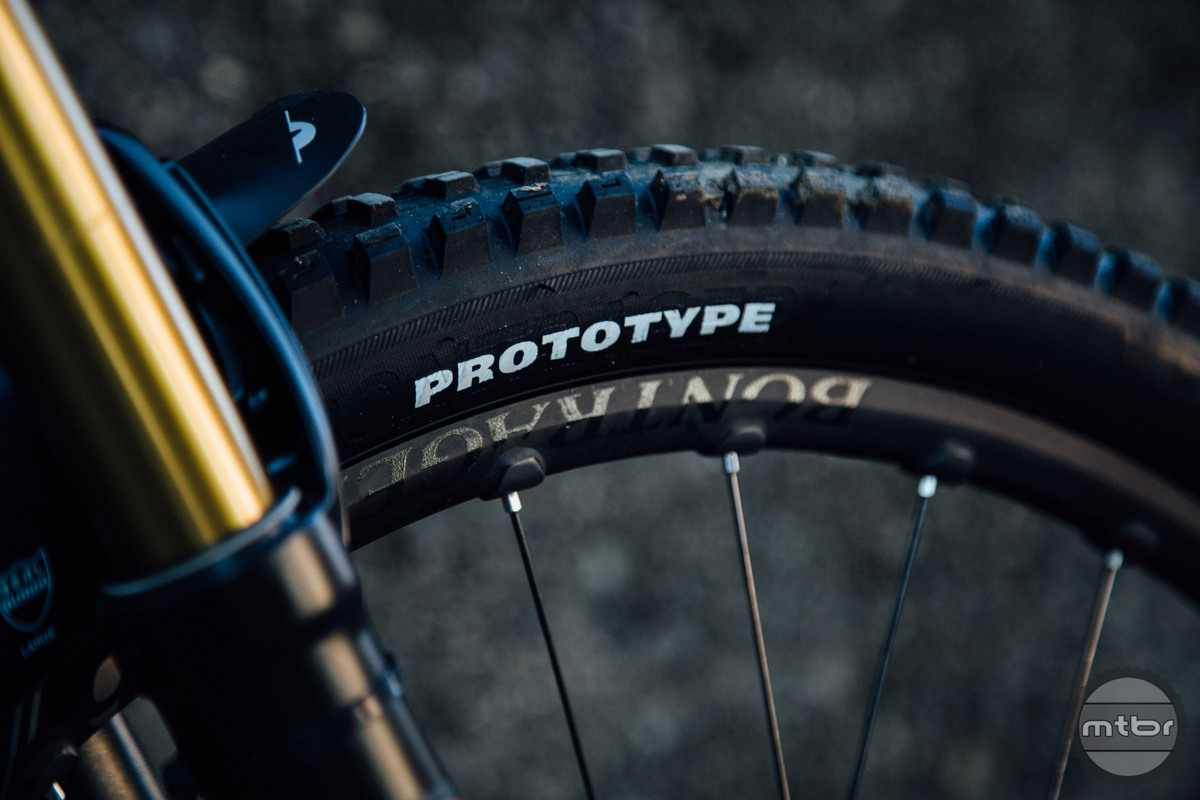 The Bontrager SE5 tires have a casing that's not quite DH rated, but is tougher than their normal XR models.