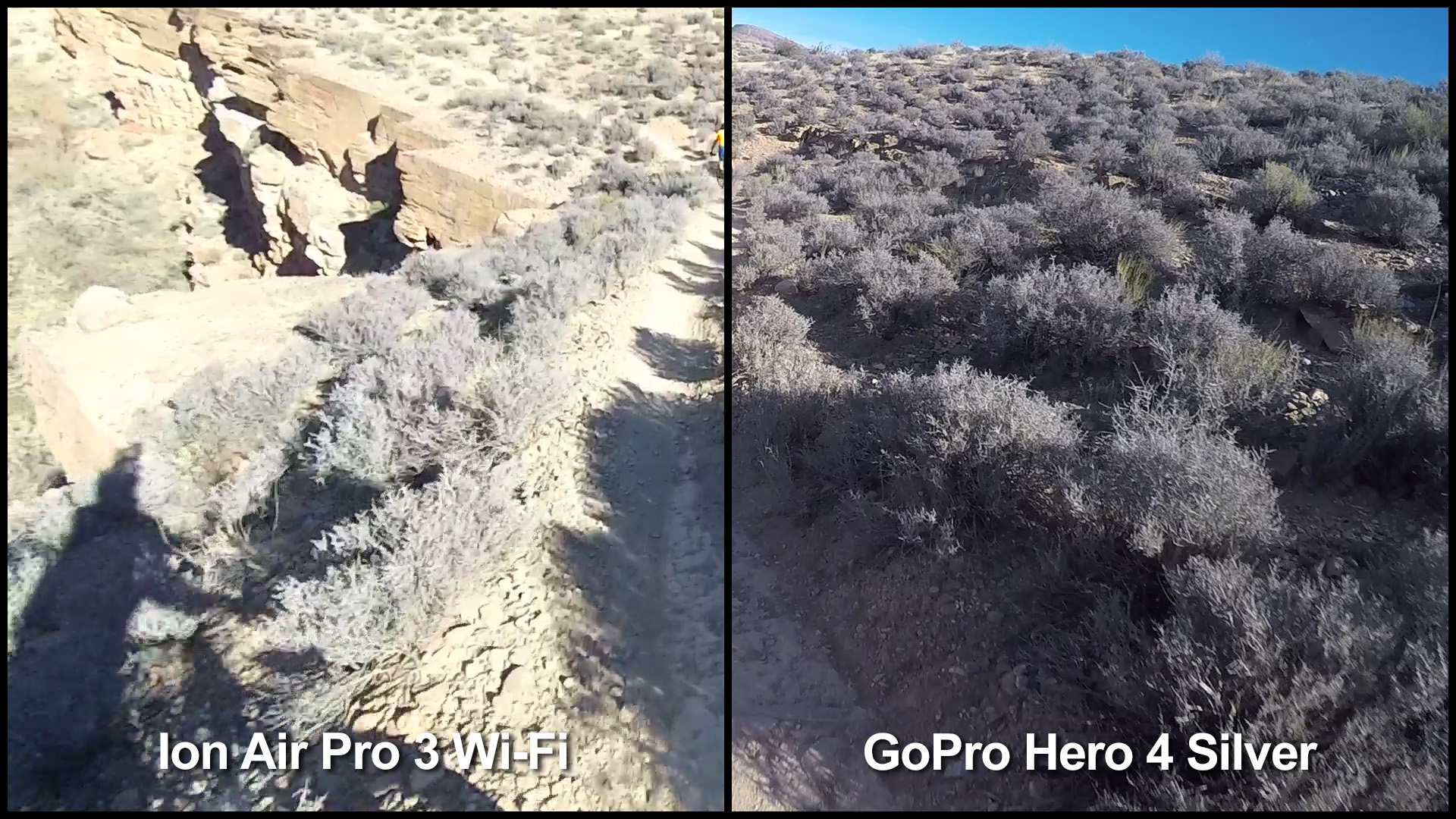 A split image made from two frame grabs taken from the same point in our POV shootout trail video. Notice how refined the detail is in the GoPro Protune footage (right).