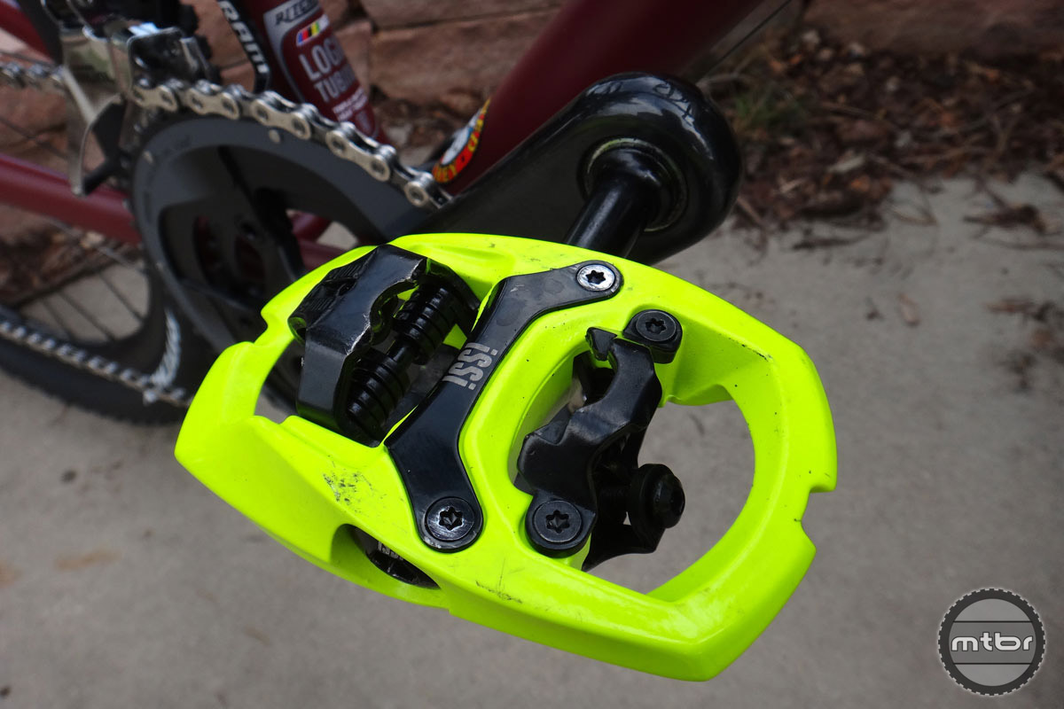 The $100 iSSi Trail pedal is offered in eight colors including the hi-vis yellow. There are three spindle lengths.