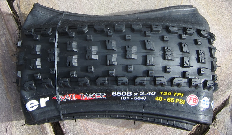 Vee Rubber Trail Taker - folded tire, showing a good viewpoint of the tread design