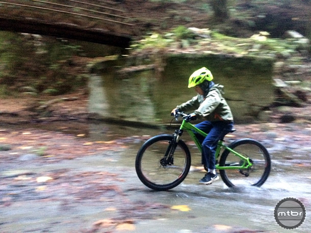 Our young tester enjoyed riding the Trailcraft Cycles Pineridge 24 so much; he rode this small creek crossing about 5 times.
