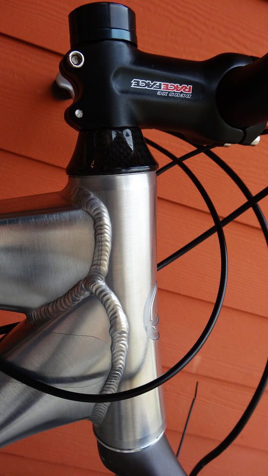 Stripping my Giant Trance X1 Frameset to bare, polished aluminum.-tranceheadtube.jpg