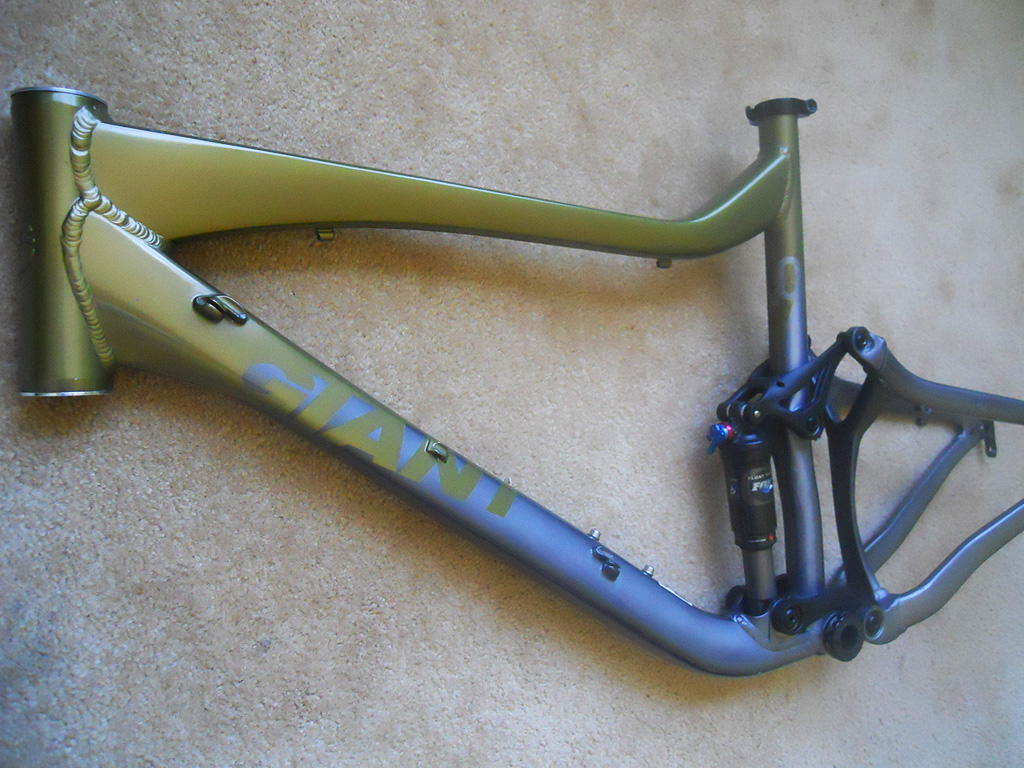 Stripping my Giant Trance X1 Frameset to bare, polished aluminum.-trancerightfront.jpg