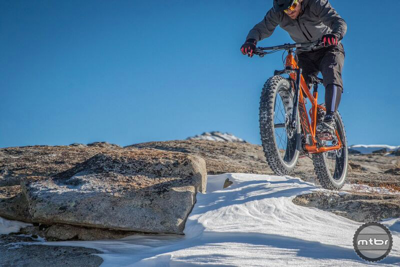 A 70-degree head tube angle and 452mm long chainstays make the Trans-Fat fun to loft over snow drifts. Photo by James Adamson – dropmedia.tv