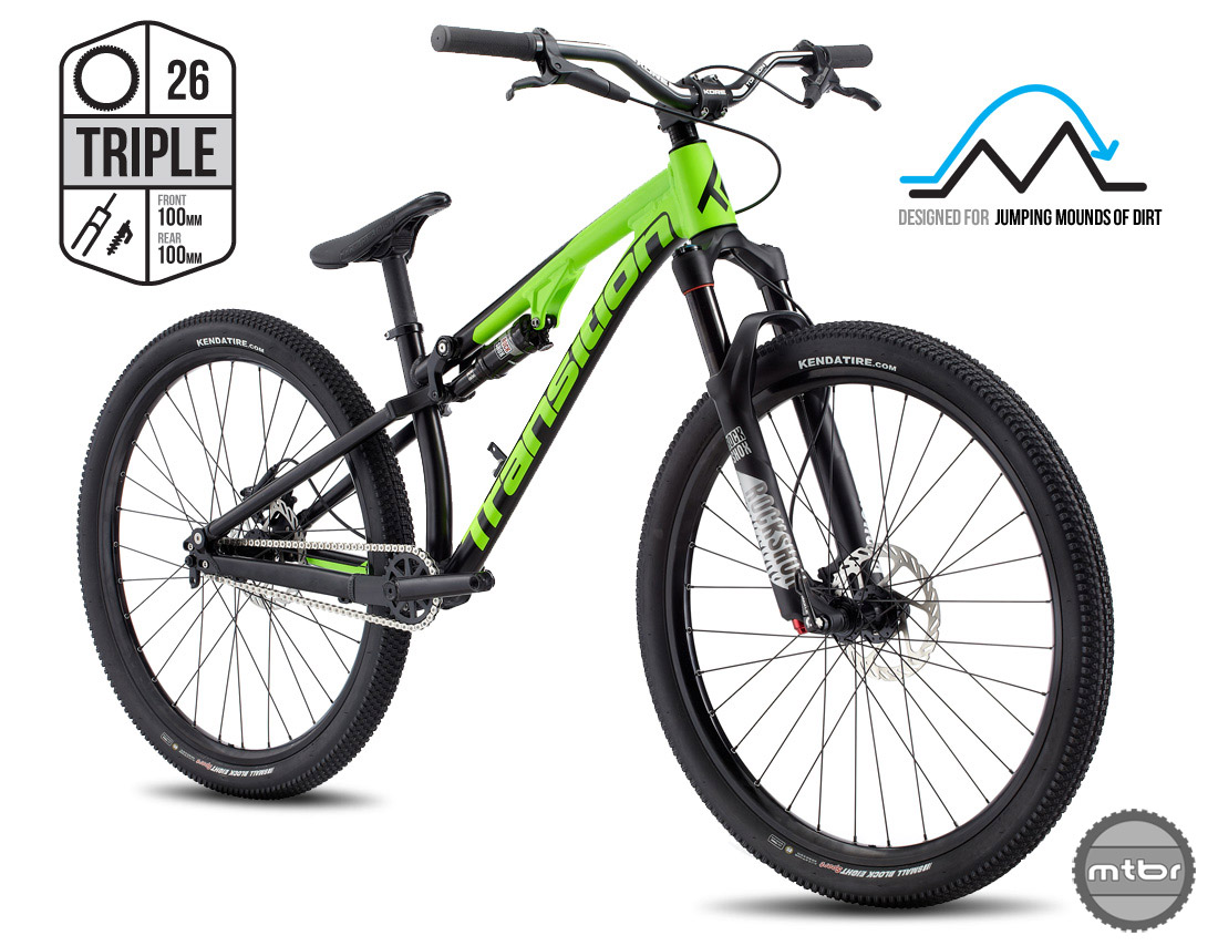 The Triple is designed for jumping over mounds of dirt, but also makes for a fun play bike on the trails.