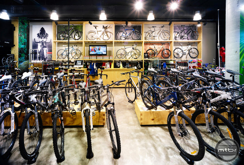 This Trek store has an impressive showcase of bikes.