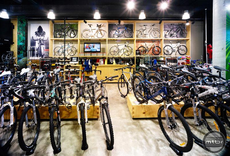This Trek store has an impressive showcase of bikes.