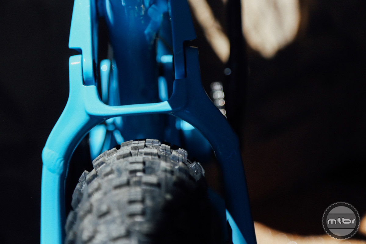 "The Farley EX has room for up to a 4"" tire, but comes stock with 3.8"" rubber."
