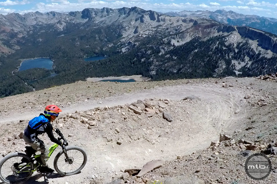 Dropping in at the Mammoth Mountain Bike Park.