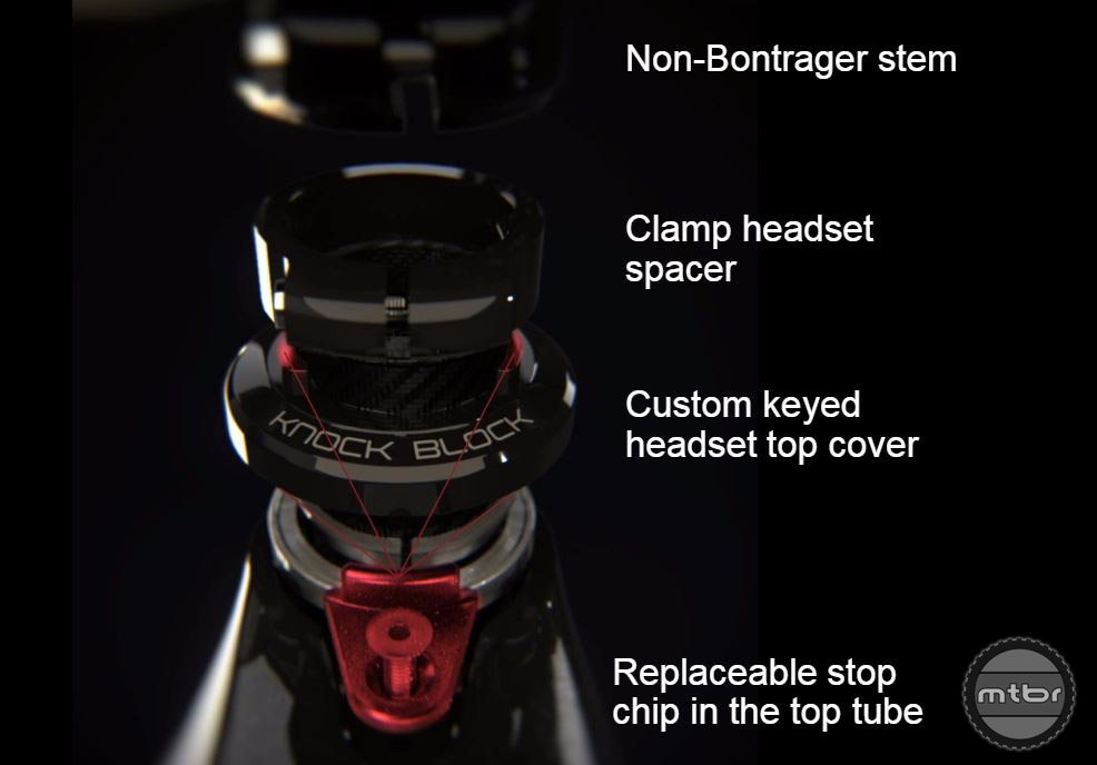 The Knock Block is designed to work with Bontrager stems, but can also be used with any stem of your choice.