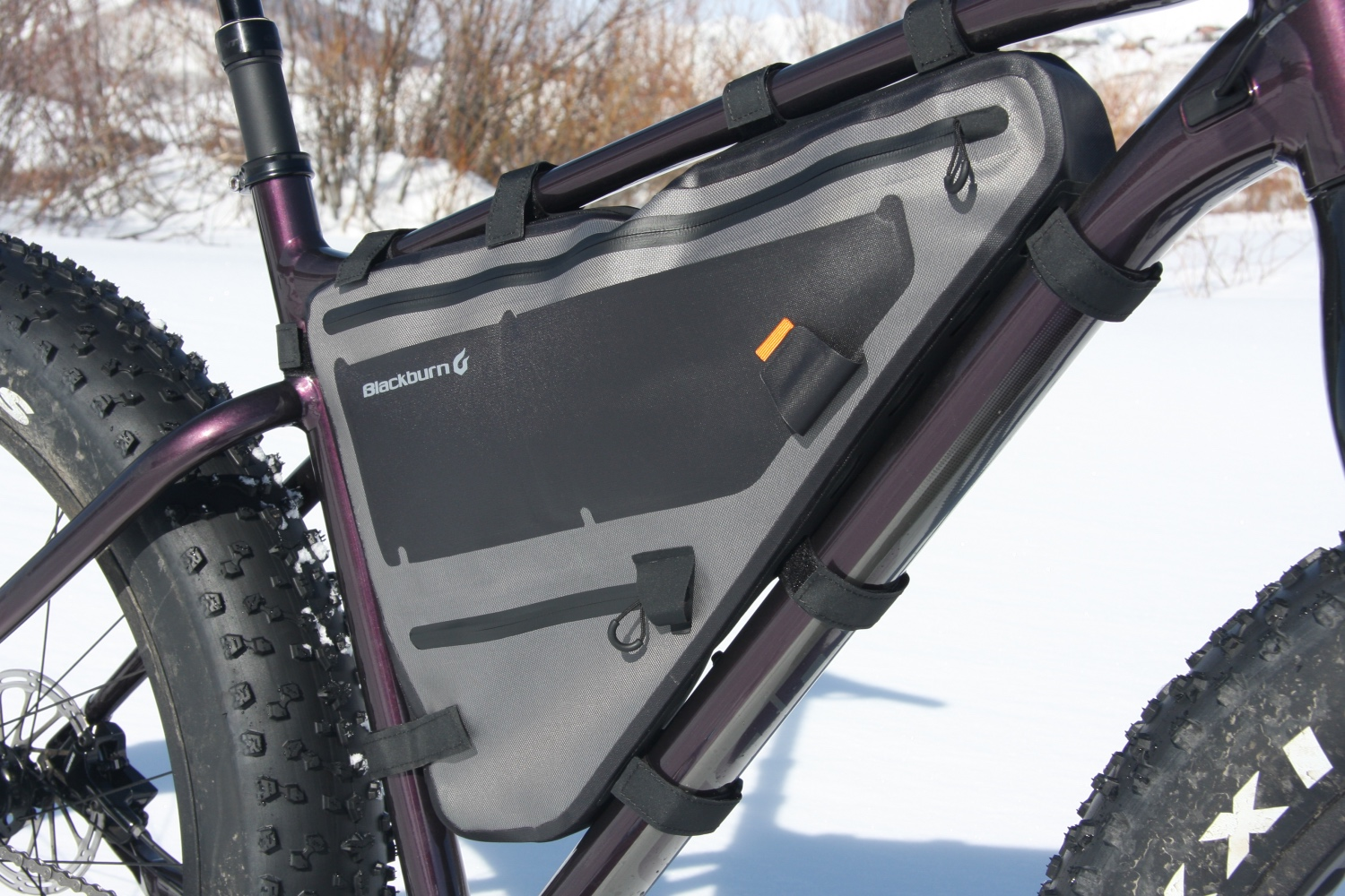 During training/fun rides we jammed the Blackburn Outpost Elite Frame Bag with all manner of just-in-case clothing. Photo by Jason Sumner