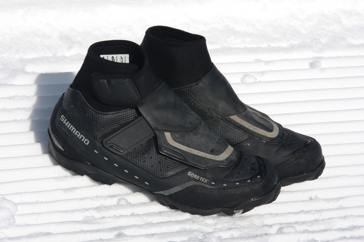 This previous generation pair of Shimano cold-weather mountain bike shoes have been a staple of our wintertime riding kit for several years. Photo by Jason Sumner