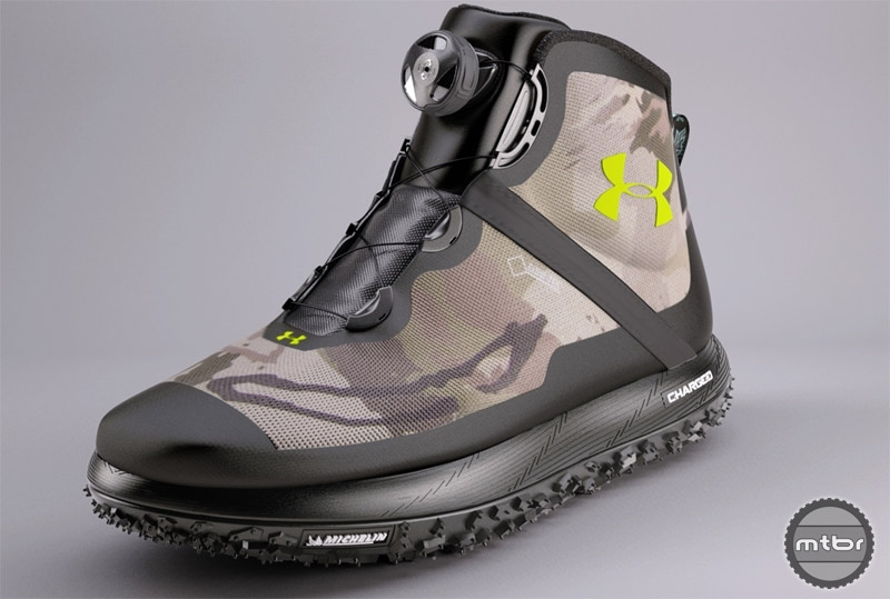 The new Under Armour Fat Tire boot will also be available with a black sole and camo upper.
