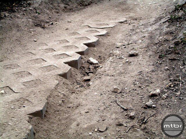 Cinder blocks are sometimes used for reinforcement.