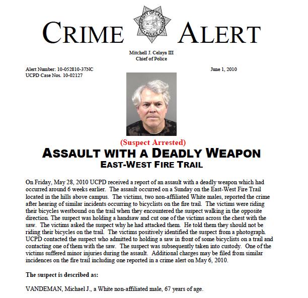 The suspect is described as: VANDEMAN, Michael J.-vandeman.jpg