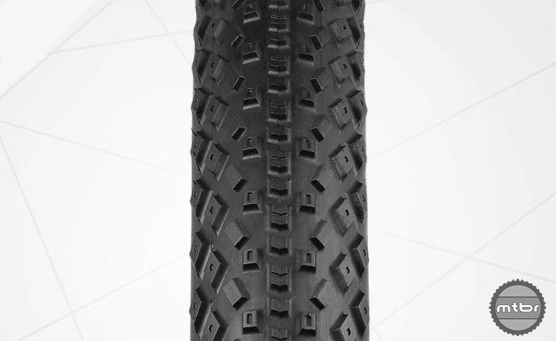 The XC-style tread is geared to maintaining speed and traction.