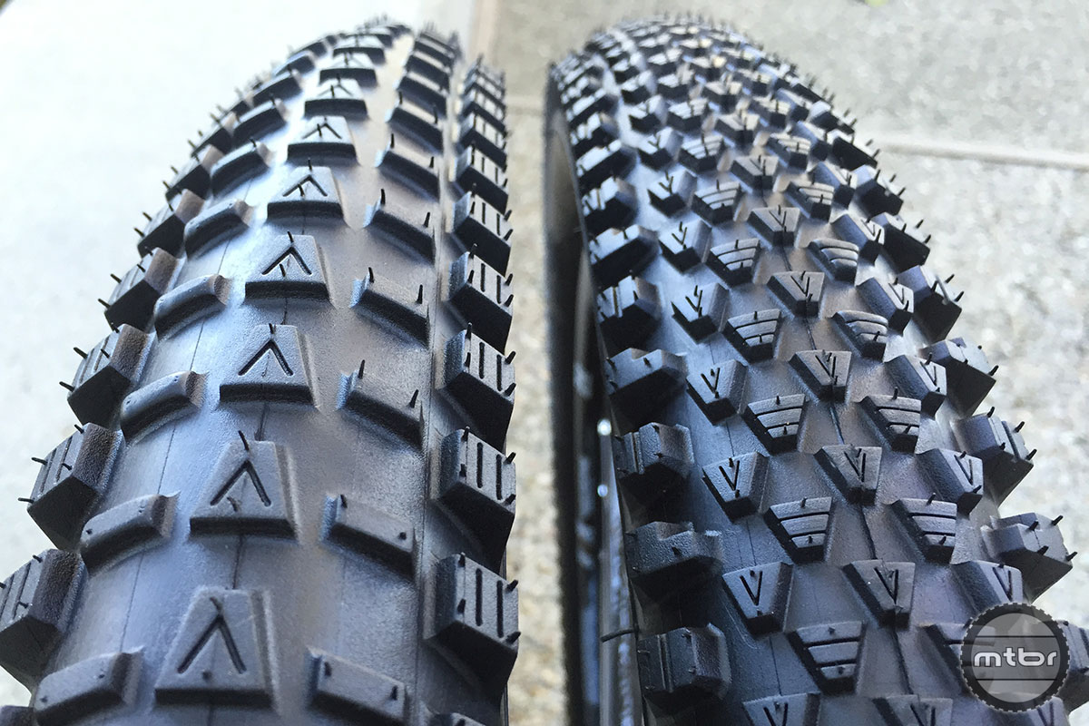 The wheel-specific Vee Tire Crown F (left) and Crown R (right) are premium offerings from the venerable rubber company.