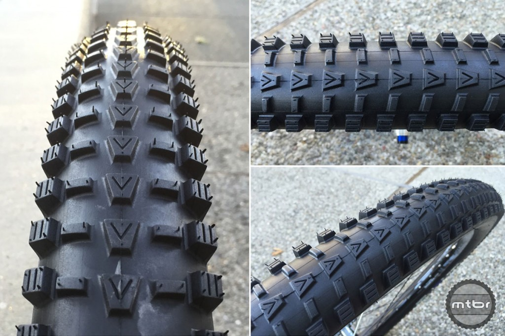 This is the front specific tire with open spaced knobs and good transition knobs.
