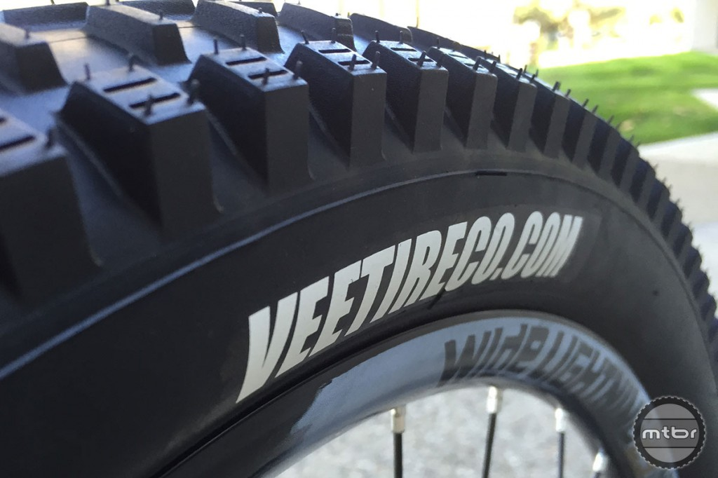 Front tire with siped side knobs.