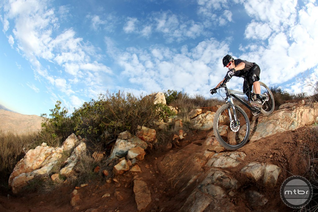 Former downhill and BMX champion, Mike King on a technical descent in Southern CA.
