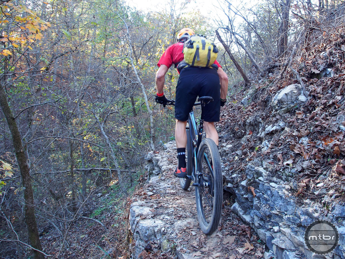 The Ledges Trail is part of the new Back 40 system in Blowing Springs, and poses some serious technical challenge. Don't fall left...