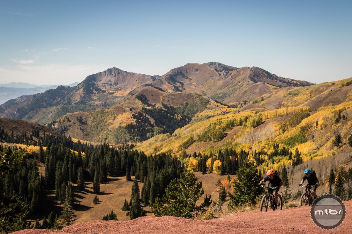 "Riders climb ""The Spine"" on Wasatch Crest Trail above Park City, UT. Photo by James Adamson – dropmedia.tv"
