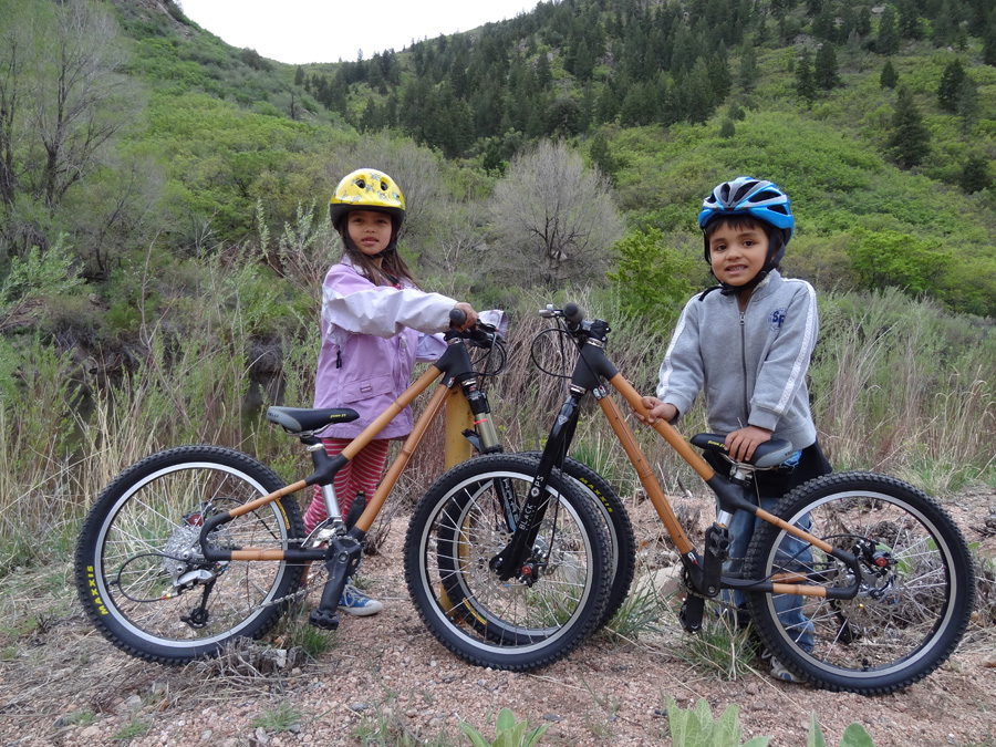 2 bamboo bikes at waterton canyon