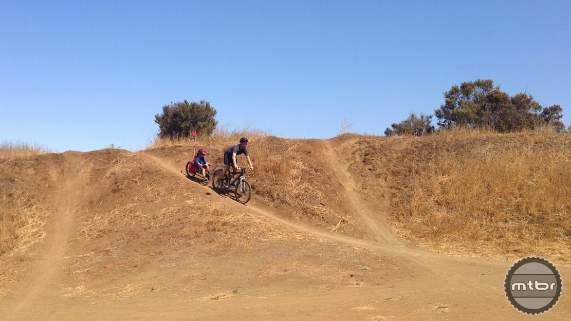 Having fun at the bike playground at Arastradero Open Space Preserve, Palo Alto.