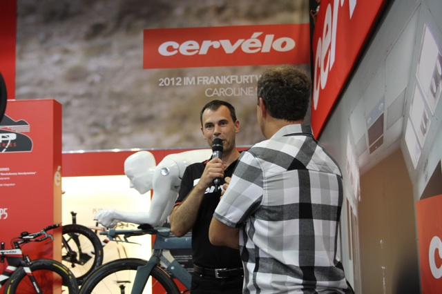 Phil White is answering questions at 2012 Eurobike.